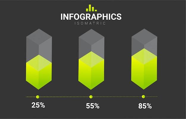 Modello di disegno vettoriale isometrica infografica