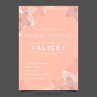 Modello di doccia invito nuziale con fiori astratti