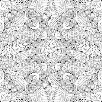 Modello di doodle di turbinii e foglie lineari