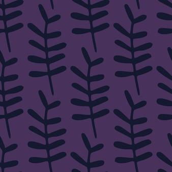 Modello di doodle senza giunte botanico scuro con forme di ramo. sfondo viola. sfondo floreale semplice.