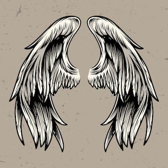 Modello di due ali d'angelo