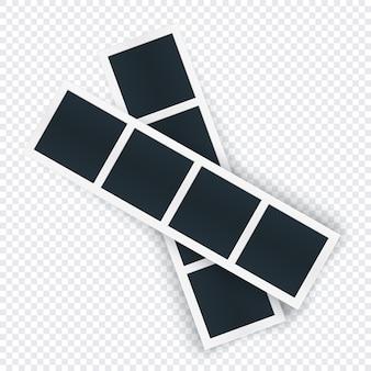 Modello di due strisce fotografiche ruotato, posti immagine in fila. cornice per fotografia ruotata