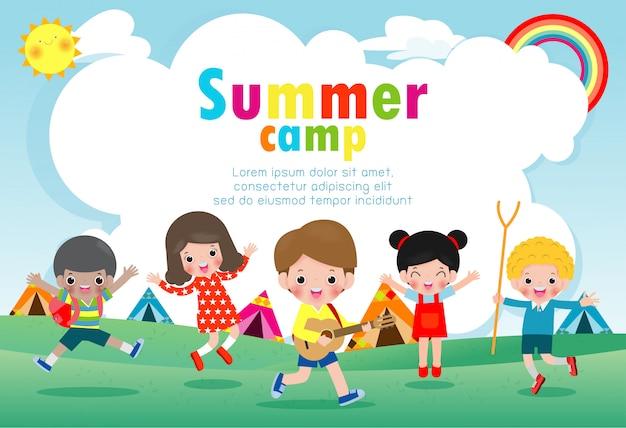 Modello di educazione del campo estivo per bambini per brochure pubblicitarie, bambini che fanno attività in campeggio, modello di volantino poster, testo, illustrazione