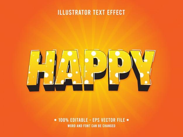 Modello di effetto di testo modificabile arancione stile pop felice