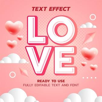 Modello di effetto testo amore carino