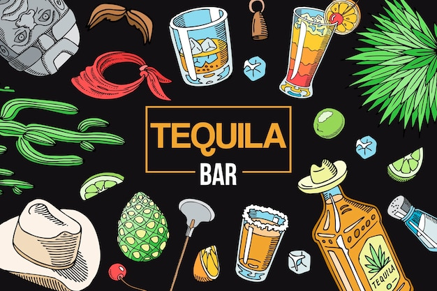 Modello di elementi barra tequila