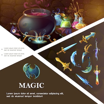 Modello di elementi di gioco del fumetto con spade scudo sciabole pugnali strega calderone e bottiglie di pozioni magiche colorate