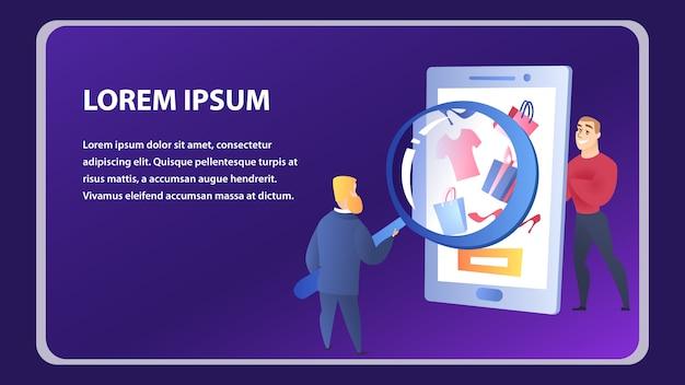 Modello di elemento del sito web dello shopping online