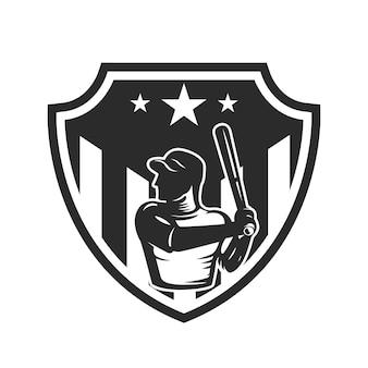 Modello di emblema con giocatore di baseball. elemento per logo, etichetta, emblema, segno. illustrazione