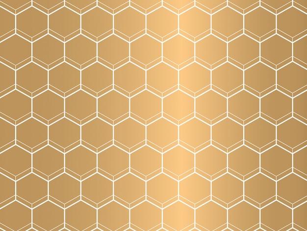 Modello di esagono contorno bianco su sfondo dorato.