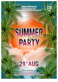 Modello di estate beach party flyer design con palme. poster vettoriale