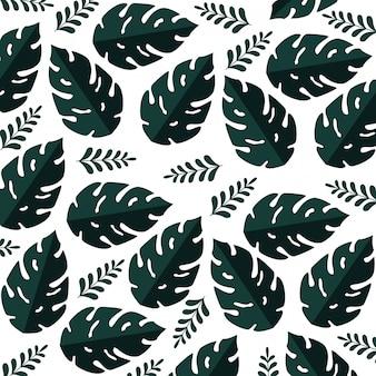 Modello di estate con piante di foglie tropicali