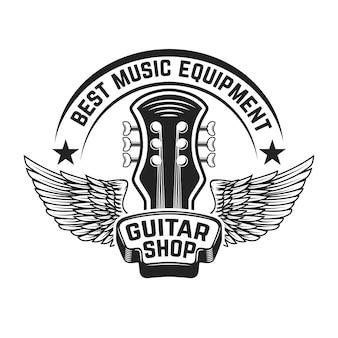 Modello di etichetta del negozio di chitarra. testa di chitarra con le ali. elementi per poster, logo, etichetta, emblema, segno. illustrazione