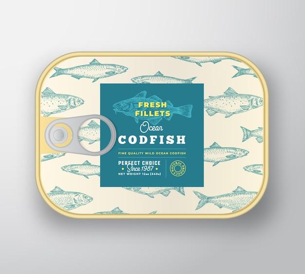 Modello di etichetta di pesce in scatola.