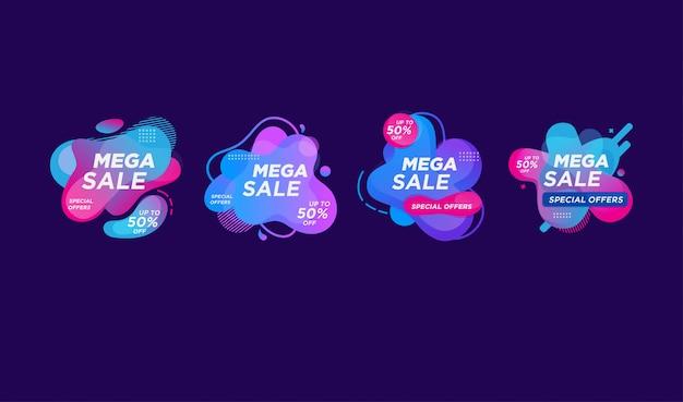 Modello di etichetta di vendita liquido vettoriale