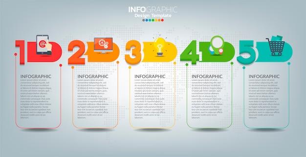 Modello di etichetta infografica vettoriale con icone e 5 opzioni o passaggi.