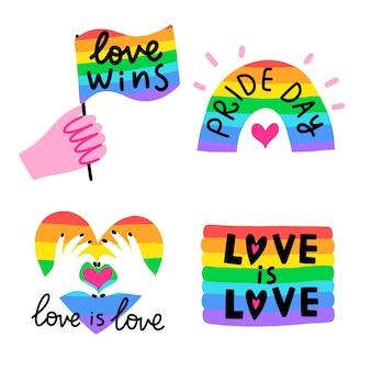 Modello di etichette arcobaleno giorno dell'orgoglio