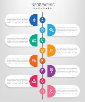 Modello di etichette di affari infografica con 8 opzioni