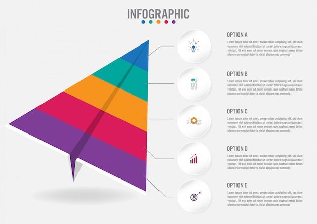 Modello di etichette di affari infographic con 5 opzioni