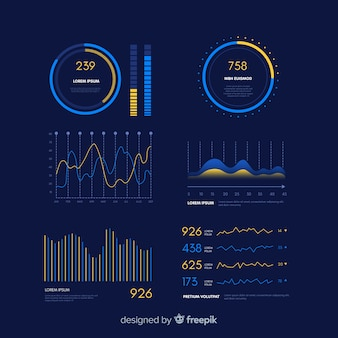 Modello di evoluzione del cruscotto infografica gradiente
