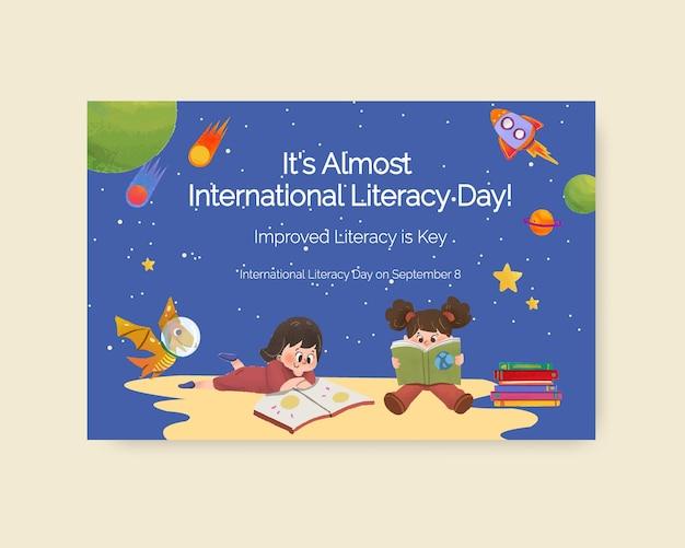 Modello di facebook con concept design della giornata internazionale dell'alfabetizzazione per il marketing online