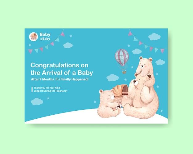 Modello di facebook con concetto di design baby shower per social media e illustrazione vettoriale acquerello marketing online.