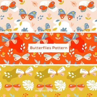 Modello di farfalle piatte