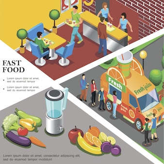Modello di fast food isometrica con frutta fresca e verdura del ristorante fast food di camion di strada di succo fresco