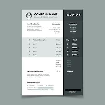 Modello di fattura. fattura con tabella dei prezzi. documento del servizio di contabilità di ordini cartacei. disegno di preventivo