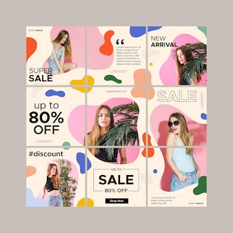 Modello di feed di puzzle di instagram con le vendite