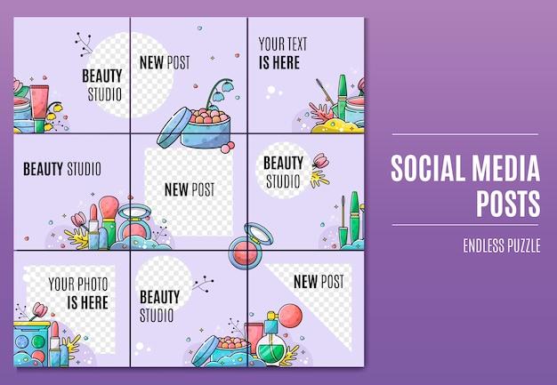Modello di feed di puzzle di instagram per il salone di bellezza