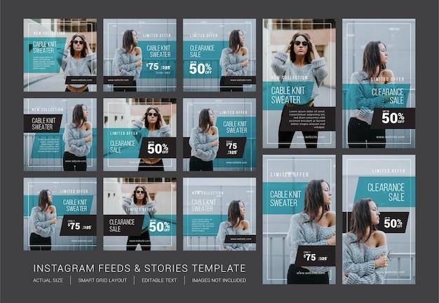 Modello di feed e storie di instagram