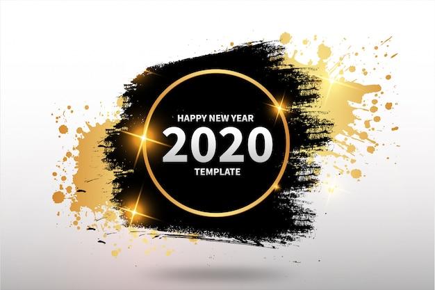 Modello di felice anno nuovo con banner astratto