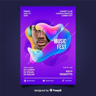 Modello di festival di musica astratta con foto