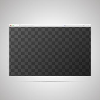 Modello di finestra del browser con posizione trasparente per la pagina web