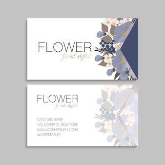 Modello di fiore di biglietti da visita azzurro