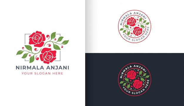 Modello di fiore rosa logo con cerchio distintivo