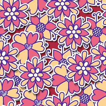 Modello di fiore vettoriale trama botanica senza soluzione di continuità. cartone animato di fiori.