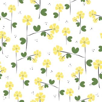 Modello di fiori disegnati a mano carino senza soluzione di continuità