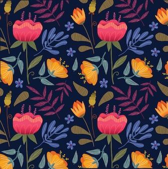 Modello di fiori gialli e rosa