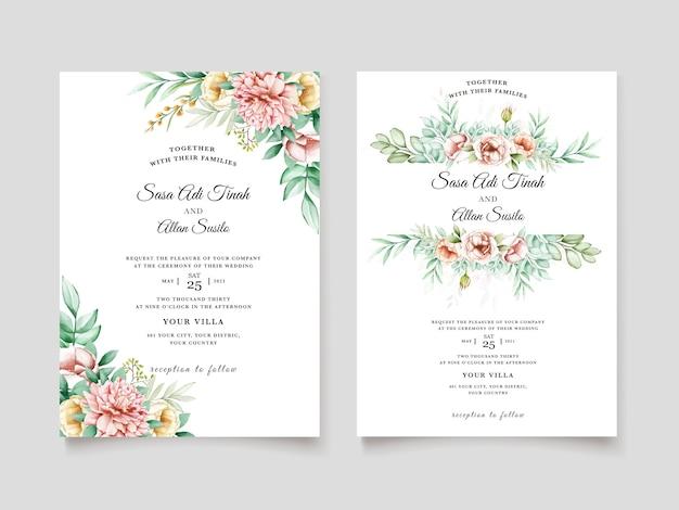 Modello di fioritura delle partecipazioni di nozze dell'acquerello del fiore della bella peonia