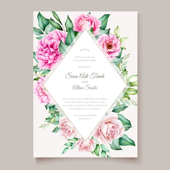 Modello di fioritura delle partecipazioni di nozze dell'acquerello del fiore della peonia rosa