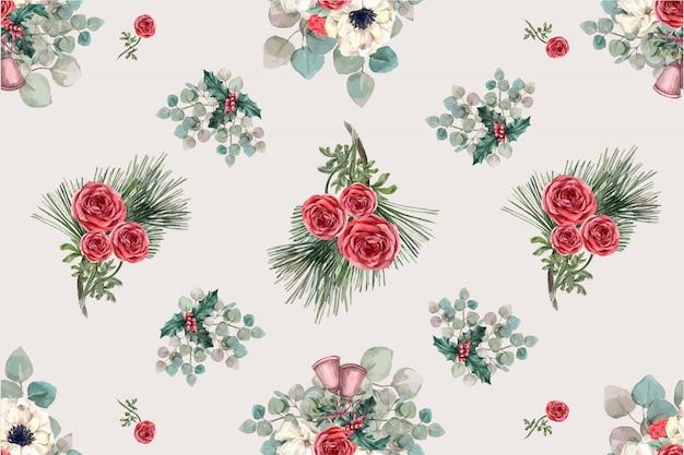 Modello di fioritura invernale con anemone, rosa, foglie di pino