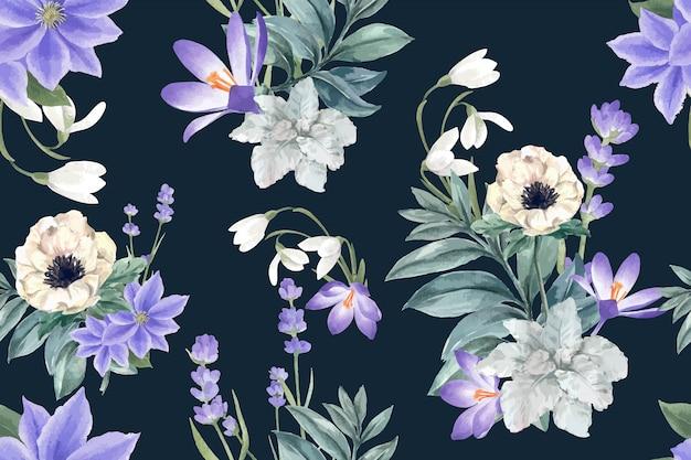 Modello di fioritura invernale con croco, lavanda, anemone