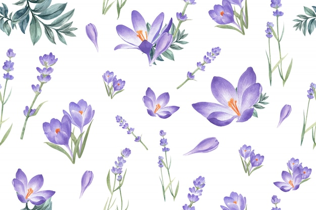 Modello di fioritura invernale con croco, lavanda