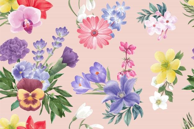 Modello di fioritura invernale con gerbera, lavanda, croco, peonia