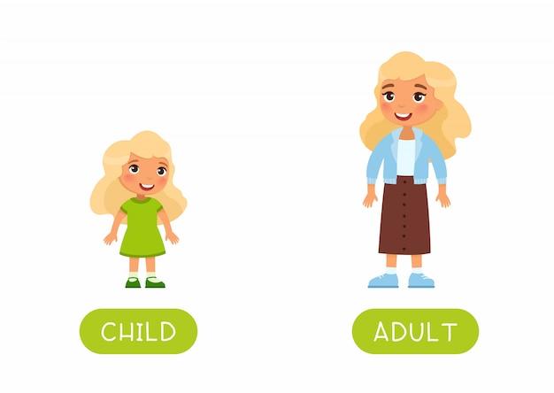 Modello di flash card educativo in lingua straniera. scheda word per l'apprendimento dell'inglese. opposti, concetto di età, adulto e bambino. illustrazione piana cresciuta della bambina e della donna con tipografia