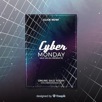 Modello di flyer di cyber lunedì acquerello