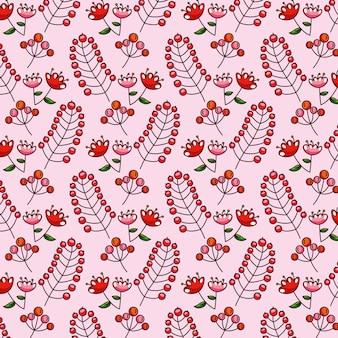 Modello di foglie di autunno con fiori e frutti rossi