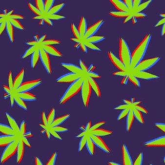 Modello di foglie di cannabis con effetto glitch